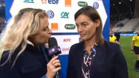 Football - Équipe de france féminine : L'interview de Corinne Diacre, sélectionneure de l'équipe de France féminine de football après le match France Cameroun
