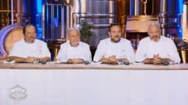 Objectif Top Chef : La dégustation des quasis de veau par Philippe Etchebest, Emmanuel Renaut, Gilles Goujon et Michel Guérard