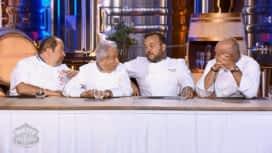 Objectif Top Chef : La dégustation des loups par Philippe Etchebest, Emmanuel Renaut, Gilles Goujon et Michel Guérard