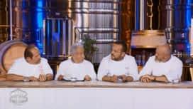 Objectif Top Chef : La dégustation des desserts à la pêche par Philippe Etchebest, Emmanuel Renaut, Gilles Goujon et Michel Guérard