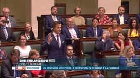 RTL INFO 19H : Prestation de serment: l'élu Vlaams Belang n'est pas monté au perchoir