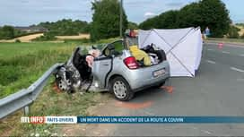 RTL INFO 19H : Une octogénaire perd la vie dans un accident de la route à Pesche