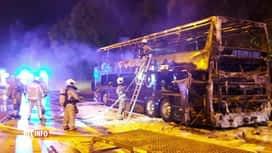 RTL INFO 13H : Incendie d'un car avec 50 passagers hier soir sur l'E19 à Haut-Ittre