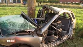 RTL INFO 13H : Une voiture s'enroule autour d'un arbre à Erquelinnes