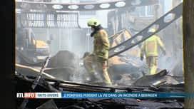RTL INFO 19H : 2 pompiers ont perdu la vie dans un incendie à Beringen