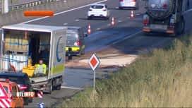 RTL INFO 13H : Un camion-citerne sur le flanc sur la E40 à Hognoul