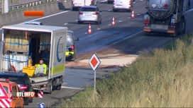 RTL INFO 19H : Un camion-citerne sur le flanc sur la E40 à Hognoul