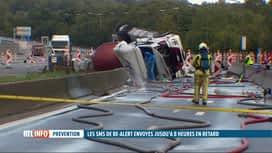 RTL INFO 19H : Accident sur l'E19 à Nimy: les SMS de Be Alert envoyés trop tard ?