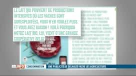 RTL INFO 13H : Les producteurs de lait indignés par la dernière pub de Delhaize