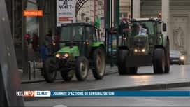 RTL INFO 13H : Journée mondiale du climat: des agriculteurs mobilisés à Bruxelles