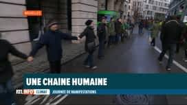 RTL INFO 19H : Journée mondiale du climat: chaîne humaine dans le centre de Bruxelles