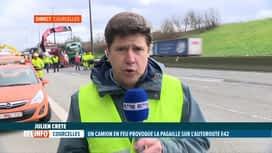 RTL INFO 13H : L'accident de camion sur l'E42 à Viesville impacte la circulation