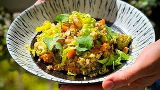 Oeuf mimosa et wok de légumes