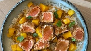 Saumon croustillant, moelleux pommes cannelle