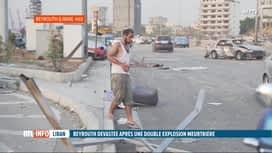 RTL INFO 13H : Double explosion à Beyrouth: la ville et le port totalement sinistrés