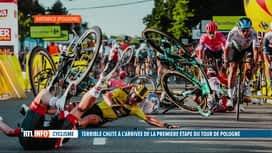 RTL INFO 13H : Cyclisme: lourde chute de Jakobsen lors d'un sprint au Tour de Pologne