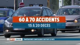 RTL INFO 19H : Les accidents de la route sont plus nombreux en cas de canicule