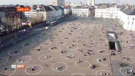 RTL INFO 13H : A Gand, les étudiants se rassemblent par 4 dans un cercle tracé au sol