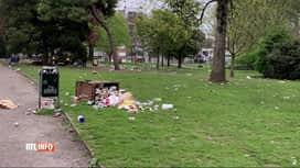 RTL INFO 19H : Les déchets s'accumulent dans les parcs où les jeunes se rassemblent