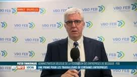 RTL INFO 13H : Accord interprofessionnel: réaction de Pieter Timmermans pour la FEB