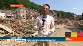 RTL INFO 13H : Inondations: le point sur l'atmosphère régnant à Pepinster ce matin