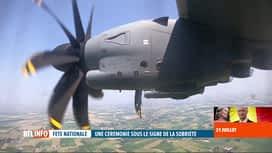 RTL INFO 19H : Fête nationale: deux Airbus A400M ont survolé la place des Palais