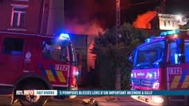RTL INFO 13H : Important incendie à Gilly, des riverains évacués et 5 pompiers ble...
