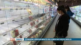 RTL INFO 13H : Les rayons des magasins Carrefour toujours vides